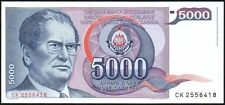 1985 YUGOSLAVIA 5000 DINARA BANKNOTE * CK 2556418 * gEF * P-93 *
