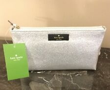 NWT Kate Spade NY Haven Lane Little Shiloh Silver Glitter Cosmetic Bag / Clutch