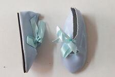 Chaussures  Long 100  Large 40   Simili cuir  Bleu clair pour poupées anciennes
