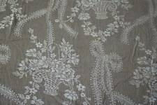 Vintage shabby chic Faded French Gray pretty classic toile c1950s Damask fabric