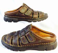 Born Sandals Brown Leather Slide Mule Clog Velcro Strap Size 9 M 40.5 B6284 EUC