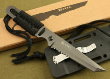 "Military Survival Hunting Camping Gear Fixed Blade Neck Knife  7"" New Black"