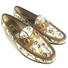 C-1197150 New Gucci Canvas Flora Loafers Shoes Size US 9.5 Marked 39.5