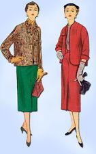 1950s Vintage Simplicity Sewing Pattern 4435 Uncut Misses Plus Size Suit Sz 39 B