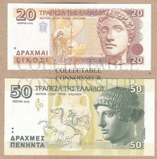 Greece 20 & 50 Drachma 2013 2014 UNC SPECIMEN Test Note Banknote Set - 2 pcs