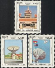 Cambodia 1992 Satellite/Radio Dish Aerial/Space/Hotel/Buildings 3v set (b8695)