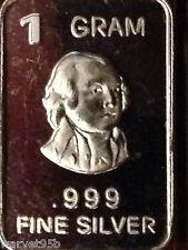 """1 Gram Pure .999 Fine Silver """"John Quincy Adams"""" Bar Round Coin NM New 2015"""