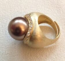 Sterling Silver & Cubic Zirconia Fancy Ring Gold And Brown Pearl Size 7