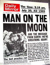 1969 Newspaper Apollo Man Walks on the Moon Landing Science Star Wars Trek Retro