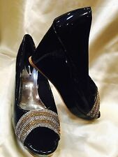 Size 7 Ladies Indian Bollywood Party Shoes Heels Sandals Black Silver Gold S23