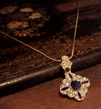Vintage Deco Style Crystal & Montana Blue Drop Pendant Necklace
