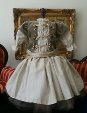 "Original French victorian dress 16"" for antique large bisque German doll 19-24"""
