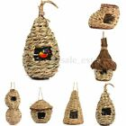 Handwoven Straw Bird Nest House Parrot Hatching Breeding Natural Pet Grass Cave.
