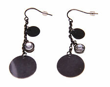 ELEGANT UNIQUE LADIES GUN METAL DROP EARRINGS EVENING WEAR (ZX11)
