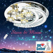 NEW Modern LED STARS & MOON Ceiling Light Fixture Lighting Crystal Chandelier