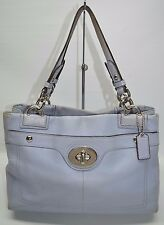 Coach Penelope Periwinkle Pebbled Leather Turnlock Tote Satchel Bag Medium 16531