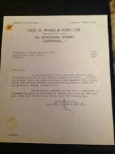 L3-6 Ephemera Headed Letter Geo H Ward & Sons Ltd Liverpool 1962 Seeco