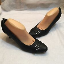 Diesel black leather suede pumps shoes medium heel 40.5 9.5 M