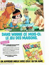 PUBLICITE ADVERTISING 116  1986   Winnie l'ourson Wazlt Disney jeu des maisons