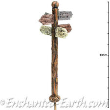 New Miniature/Rustic Fairy Garden Sign Post- Wood effect sign Post -12cm tall