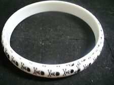 Skull & Crossbones White Plastic Bangle Costume Jewlery Bracelet