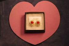 Beautiful Gold Color Earrings With Carnelian And Diamant1.6 Cm Wide In Gift Box