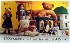 2000 NEW ZEALAND CHILDREN'S HEALTH STAMPS SOUVENIR SHEET BEARS & DOLLS