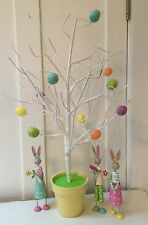 White Twig Tree Easter Decoration With Eggs Gisela Graham Table Top In Pot