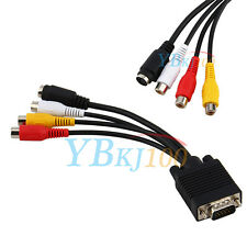 1PC VGA SVGA to S-Video 3 RCA AV TV Out Adapter Converter Cable for PC Laptop dr