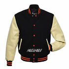 Black Wool With Cream Real Leather Arms,Sleeves,Letterman Varsity Jacket 2XS~4XL