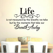 Quote Life Breath Away Wall Decal Bedroom Decor Vinyl Sticker DIY Art Lettering