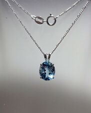925 Sterling Silver Oval Natural Sky Blue Topaz VS Pendant Necklace 3.95CT 18""
