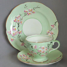 Vintage Antique FOLEY TRIO TEA CUP & SAUCER PLATE Dessert Set HAND PTD. Dogwood