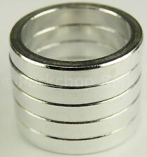 """Bicycle MINI BMX ROAD MTB headset spacers 1"""" threadless (SET of 5) 5mm SILVER"""