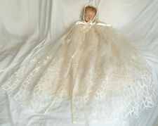 "Cream Christening Gown & Cape set, 3-9m baby, 20-26"" reborn Baptism dress (171)"