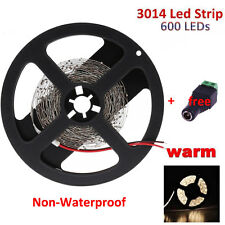 5M SMD 600 LED 3014 non-waterproof Strip Light 12V Warm White + DC Connector