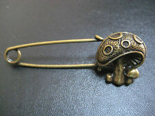 Bronze Colour 'Magic' Mushroom Pin Brooch ideal for kilt, scarf or cardigan etc