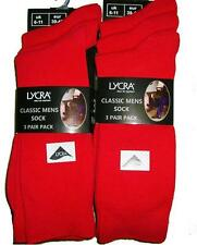 NEW PACK OF 6 PAIRS MENS 6-11 RED EVERYDAY USE LYCRA SOCKS COMFORTABLE BUSINESS