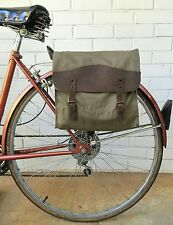 Vintage OD Green w/Leather Military Surplus Style Messenger Bag Bicycle Pannier