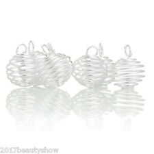50PCs Silver Plated Spiral Bead Cages Pendants Findings 18x15mm