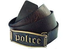 £65 Police POMAA7-0401BS Hestia Gothic Brown Brass Buckle Leather Belt - S