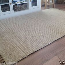 HAND LOOMED COTTON INDIAN 4012 RUNNER RUG 120cm x 180cm BEIGE CREAM PIN STRIPES