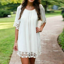 Women's White Loose Tops Beachwear Party Cocktail Short Solid Mini Tunic Dress