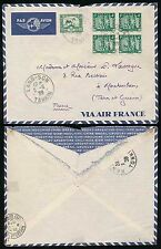 French indochine langson 1939 bloc timbres + 22c... air france enveloppe