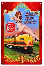 KCS Bless Your Heart Railroad Pin Up Girl Sign 12X18