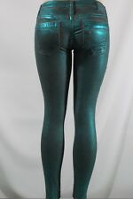 100% AUTHENTIC NEW WOMENS ROBIN'S JEAN SZ 30IN SKINNY GREEN FOIL  inseam 30