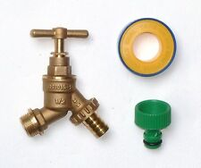 1/2 Inch Brass Outside Bib-Tap With PTFE Tape & Garden Hose Fitting