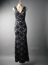Black Embroidered Lace Elegant Formal Mermaid Column Gown Long 121 ac Dress L