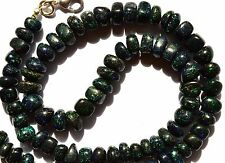 Super Rare Natural Black Australian Matrix Opal Smooth Unshape Beads Necklace17""