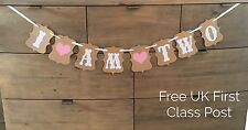 Vintage 2nd Birthday Party Bunting Banner Baby Girl Pink Decoration Second